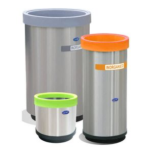 ART CENTER / Basurero ecologico cilindrico de acero inoxidable