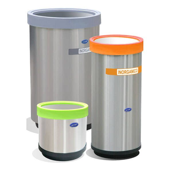 ART CENTER / Basurero ecologico cilindrico balancin de acero inoxidable