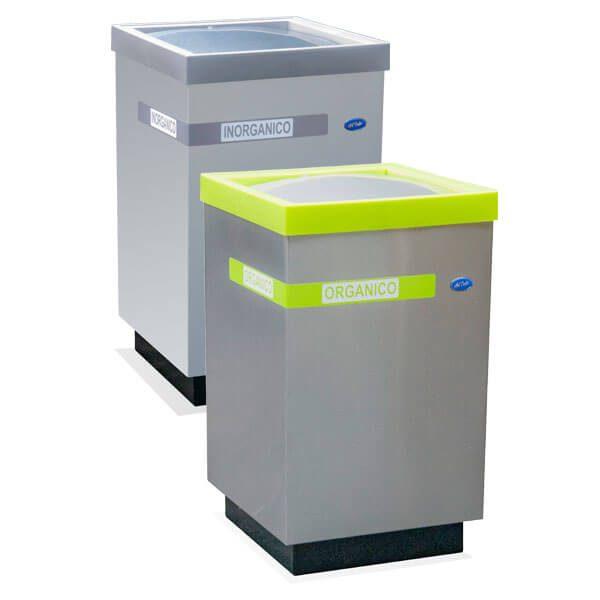 ART CENTER / Basurero ecologico cubo grande balancin para basura organica e inorganica de acero inoxidable