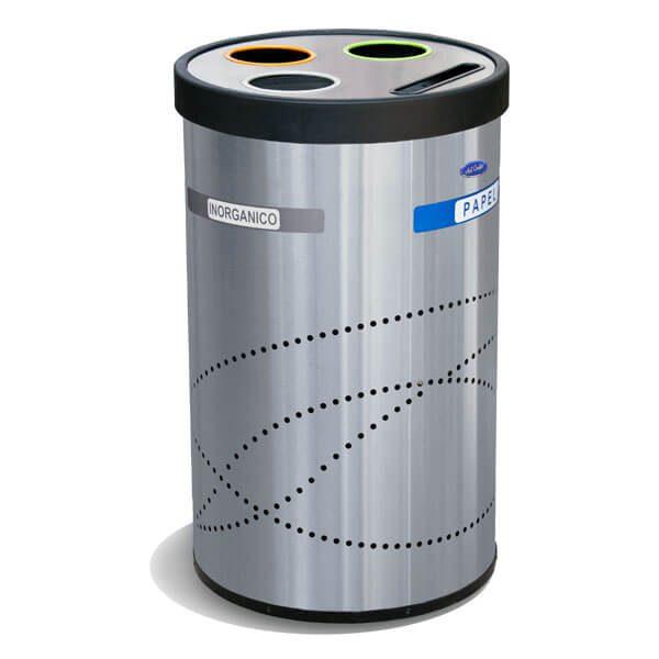 ART CENTER /Basurero ecologico jumbo reciclable para separacion de basura y residuos en acero inoxidable