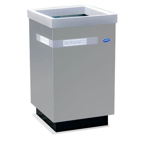 ART CENTER / Basurero ecologico cubo grande para basura inorganica en acero inoxidable